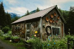 Destinazione rustica di avventura della regione selvaggia di montagna Fotografie Stock Libere da Diritti