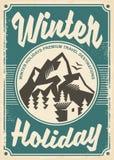 Destinazioni di viaggio di vacanze invernali, retro progettazione del manifesto illustrazione di stock