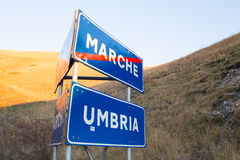 Destinerat Marche-Umbria utrymme Arkivbild
