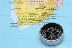 Destino África do Sul do curso, mapa com compasso Fotos de Stock
