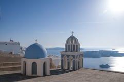 Destino e cenário do curso da ilha de Santorini Imagens de Stock Royalty Free