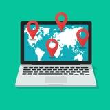 Destino internacional global o ejemplo en línea del vector de la navegación, ordenador portátil plano de la historieta con el map ilustración del vector