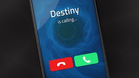Destiny is Calling. Incoming call from Destiny on a smartphone stock illustration