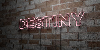 DESTINY - Glowing Neon Sign on stonework wall - 3D rendered royalty free stock illustration Stock Image
