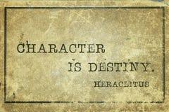 Destiny Heraclitus. Character is destiny - ancient Greek philosopher Heraclitus quote printed on grunge vintage cardboard royalty free stock photos