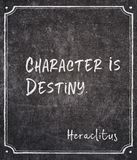 Destiny Heraclitus quote. Character is destiny - ancient Greek philosopher Heraclitus quote written on framed chalkboard royalty free stock photo