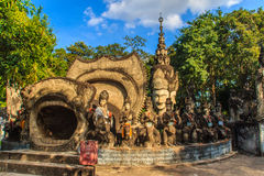 Destiny of life: birth, aging, sickness and death at Sala Keoku,. Sala Keoku, the park of giant fantastic concrete sculptures inspired by Buddhism and Hinduism Stock Photo