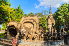 Destiny of life cave: birth, aging, sickness and death at Sala K. Sala Keoku, the park of giant fantastic concrete sculptures inspired by Buddhism and Hinduism Stock Images