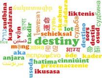 Destiny multilanguage wordcloud background concept Stock Images