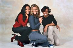 Destiny`s Child. LONDON, ENGLAND - NOV 18, 2000: Michelle Williams, Beyoncé Knowles and Kelly Rowland singers of Destiny`s Child during a photoshoot in London stock photography