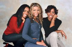 Destiny`s Child. LONDON, ENGLAND - NOV 18, 2000: Michelle Williams, Beyoncé Knowles and Kelly Rowland singers of Destiny`s Child during a photoshoot in London royalty free stock photo
