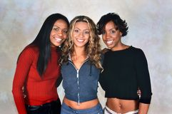 Destiny`s Child. LONDON, ENGLAND - NOV 18, 2000: Michelle Williams, Beyoncé Knowles and Kelly Rowland singers of Destiny`s Child during a photoshoot in London royalty free stock image