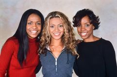 Destiny`s Child. LONDON, ENGLAND - NOV 18, 2000: Michelle Williams, Beyoncé Knowles and Kelly Rowland singers of Destiny`s Child during a photoshoot in London stock image