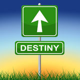 Destiny Sign Means Future Pointing y flechas Fotografía de archivo libre de regalías