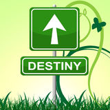 Destiny Sign Represents Pointing Progress y futuro Imagen de archivo