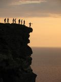 Destiny way. People standing on mountain top stock photos
