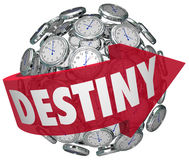 Destiny Word Arrow Around Clocks Future Fate Fortune Telling Stock Photo