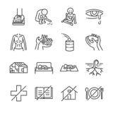 Destitution ikony kreskowy set ilustracja wektor