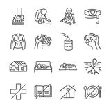 Destitution line icon set. vector illustration