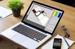 Desktop laptop branding design. Destop laptop with branding design software. All screen graphics are made up Stock Photo