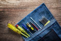 Destornillador en bolsa de herramientas Fotos de archivo libres de regalías