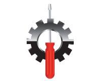 Destornillador y engranaje - ejemplo del icono Imagen de archivo