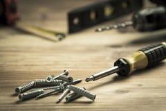Destornillador y pila de tornillos Foto de archivo libre de regalías