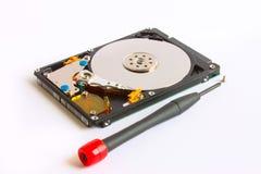 Destornillador y tornillos de la reparación de Hdd en un fondo blanco Fotografía de archivo libre de regalías