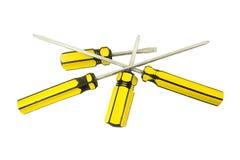 Destornilladores amarillos Imagen de archivo libre de regalías