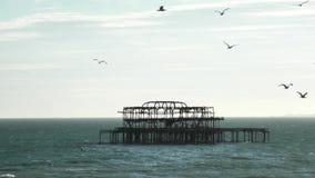 Destoryed Brighton West Pier stock video