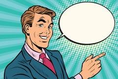 Destra dei punti dell'uomo d'affari copiare il fondo dello spazio royalty illustrazione gratis