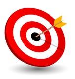 Destra della freccia sull'obiettivo, simbolo di conquista Immagini Stock
