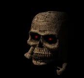 Destra di legno del rivestimento del cranio terrificante Fotografia Stock