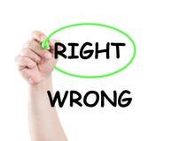 Destra non sbagliata Fotografie Stock Libere da Diritti