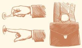 Destrava o braço de travamento, imprensas da mão o sino, homem de negócios que guarda a pasta com originais Face das mulheres Han imagens de stock royalty free