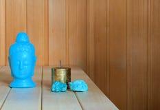Destressing sauna wnętrza wciąż życie Obrazy Stock