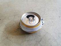 Destroy can for reduce space to put in garbage 07. Destroyed cans to reduce space in garbage for saving the global warming and keep good environment. travelers stock photo