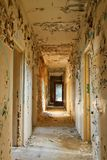 Destroy corridor. Destroyed corridor in an abandoned building Stock Image