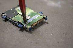 Destroy Hard Drive - Broken Data. Hard Drive destruction, Destroy Data - Hard Disk on the floor stock photo