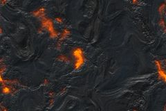 Destroy molten- nature pattern. Abstract lava textured. Ground hot lava. Burning coals- crack surface. Abstract nature pattern- glow faded flame. Danger terrain royalty free stock images