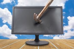 Destroy the monitor with blue sky Stock Photography