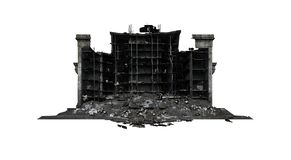 Destroy Post office building ruins. Post office building ruins. Isolated on white background. 3D Rendering, Illustration vector illustration
