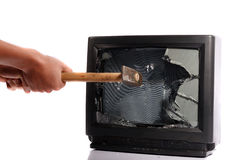 Destroy your TV Stock Image