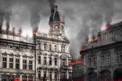 Destroyed灼烧的大厦 数字式例证 库存照片
