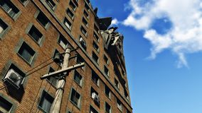 Destroyed abandoned apartment building. Look up at the ruined high-rise residential building against blue sky stock illustration