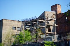 The destroyed and abandoned building Stock Image