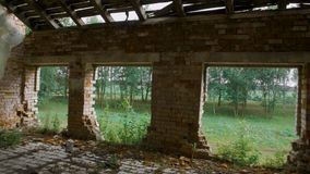 Destroyed and abandoned building, point of view.  stock footage