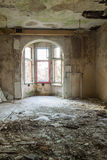 Destroyed, abandoned room in the building Stock Photo
