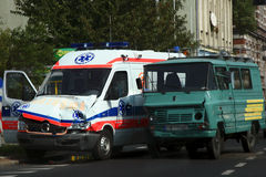 Destroyed ambulance. Rond accident with ambulance and van royalty free stock images