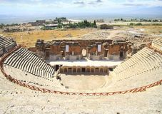Destroyed amphitheatre  in   Pamukkale. Royalty Free Stock Photos